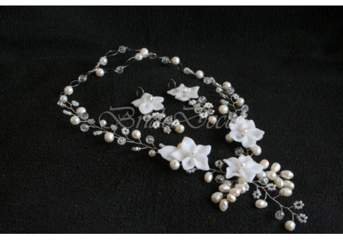 Комплект свадебной бижутерии «Цветочное трио»